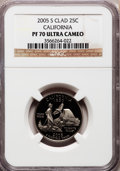 Proof Statehood Quarters, 2005-S 25C California Clad PR70 Ultra Cameo NGC. NGC Census:(2786). PCGS Population (339). Numismedia Wsl. Price for prob...