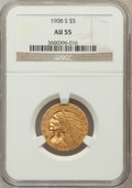 Indian Half Eagles: , 1908-S $5 AU55 NGC. NGC Census: (71/342). PCGS Population (29/334).Mintage: 82,000. Numismedia Wsl. Price for problem free...
