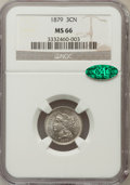 Three Cent Nickels: , 1879 3CN MS66 NGC. CAC. NGC Census: (19/4). PCGS Population (35/9).Mintage: 38,000. Numismedia Wsl. Price for problem free...