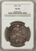 Seated Dollars: , 1847 $1 AU58 NGC. NGC Census: (96/67). PCGS Population (40/58).Mintage: 140,750. Numismedia Wsl. Price for problem free NG...
