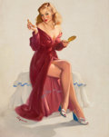 Pin-up and Glamour Art, GIL ELVGREN (American, 1914-1980). This Doesn't Seem to Keep theChap from My Lips, 1948. Oil on canvas. 30.5 x 24 in.. ...