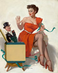 Pin-up and Glamour Art, GIL ELVGREN (American, 1914-1980). Surprised?, 1952. Oil oncanvas. 30 x 24 in.. Signed lower center. From the Estat...