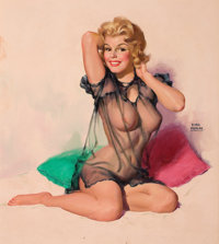 EARL MORAN (American, 1893-1984) Pin-Up in Sheer Top Oil on board 23.5 x 21 in. Signed center