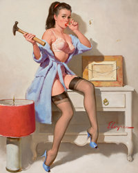GIL ELVGREN (American, 1914-1980) The Wrong Nail, 1967 Oil on canvas 30 x 24 in. Signed lower