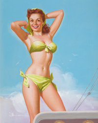 KNUTE O. MUNSON (American, 20th Century) Ship Shape, calendar pin-up, circa 1940s-50s Pastel on boar