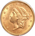 Liberty Double Eagles, 1854 $20 Small Date AU58 PCGS....