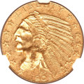 Indian Half Eagles, 1909-O $5 AU55 NGC. CAC. Variety 1....