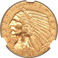 Indian Half Eagles, 1911-D $5 MS61 NGC. CAC....
