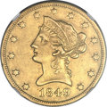 Liberty Eagles, 1849-O $10 AU50 NGC....