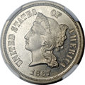 Patterns, 1867 5C Five Cents, Judd-570, Pollock-638, R.5, PR65 Cameo NGC.CAC....