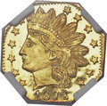 California Fractional Gold, 1872/1 25C Indian Octagonal 25 Cents, BG-790, R.3, MS66 DeepProoflike NGC....
