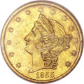 Territorial Gold, 1855 $20 Kellogg & Co. Twenty Dollar AU58 NGC. K-3b, R.5....