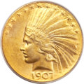 Indian Eagles, 1907 $10 Wire Rim MS61 PCGS. CAC....