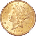 Liberty Double Eagles, 1902 $20 MS63 NGC. CAC....