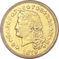 Proof Four Dollar Gold Pieces, 1879 $4 Flowing Hair, Judd-1635, Pollock-1833, R.3 -- Ex-Jewelry -- ANACS. PR45 Details....