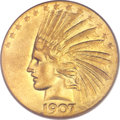 Indian Eagles, 1907 $10 Wire Rim XF45 PCGS. CAC....