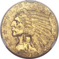 Indian Half Eagles, 1916-S $5 MS62 NGC. CAC....
