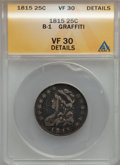 Bust Quarters: , 1815 25C -- Graffiti -- ANACS. VF30 Details. B-1. NGC Census: (3/94). PCGS Population (9/92). Mintage: 89,235. Numismedia ...