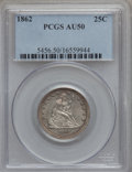 Seated Quarters, 1862 25C AU50 PCGS. NGC Census: (5/121). PCGS Population (7/168).Mintage: 932,000. Numismedia Wsl. Price for problem free ...