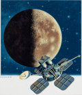 Mainstream Illustration, HOWARD KOSLOW (American, b. 1924). Space Exploration- Moon withLunar Orbiter, July 19, 1991. Acrylic on board. 14.5 x 1...
