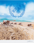 Mainstream Illustration, JIM BUTCHER (American, 20th Century). World Food Program, UnitedNations First Day Cover Society, March 4, 1983. Mixed m...