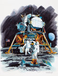Mainstream Illustration, TOM MCNEELY (Canadian, b. 1935). 20th Anniversary of the FirstMen on the Moon, March 28, 1989. Watercolor, gouache, an...