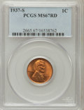 Lincoln Cents: , 1937-S 1C MS67 Red PCGS. PCGS Population (154/0). NGC Census:(748/0). Mintage: 34,500,000. Numismedia Wsl. Price for probl...