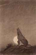 Mainstream Illustration, AMERICAN ARTIST (20th Century). Howling at the Moon.Charcoal on paper. 24 x 15.75 in.. Signed indistinctly lowerright...