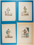 Books:Prints & Leaves, Group of Four Nineteenth-Century Color Prints of French Costumes.Approx. 13.5 x 10.25 inches. Very good.... (Total: 4 Items)