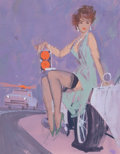 Pin-up and Glamour Art, AMERICAN ARTIST (20th Century). Stoplight. Gouache on board.6.5 x 5 in.. Not signed. From the Estate of Charles Mar...