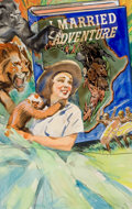 Pulp, Pulp-like, Digests, and Paperback Art, GLENN CRAVATH (American, 1897-1964). I Married Adventure, movieposter preliminary art. Appliqué and watercolor on board...