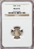 Seated Half Dimes, 1868 H10C MS65 Prooflike NGC....