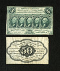 Fractional Currency:First Issue, Fr. 1313SP 50c First Issue Narrow Margin Pair. The face grades Choice CU, while the back grades AU. Both were mounte... (Total: 2 notes)