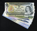 Canadian Currency: , Canadian Grouping.. $1 1973 Charlton BC-46a-i Choice CU. $20 1969 Charlton BC-50a Fine. $5 1986 Charlton BC-56eA C... (Total: 6 notes)