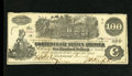 Confederate Notes:1862 Issues, T39 $100 1862. This is a bright C-note that displays a little inkerosion. Edge wear is also noticed that includes an approx...