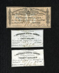 Confederate Notes:Group Lots, Three Confederate Bond Coupons.. Three different types of couponsfrom various CSA bonds are present. VF or Better.. ... (Total: 3items)