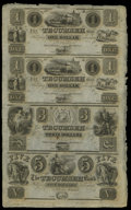 Obsoletes By State:Michigan, Tecumseh, MI- Tecumseh Bank $1-$1-$3-$5 18__ Uncut Sheet. This is a delightful sheet that has a small aging spot on the thir...