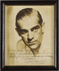 "Movie/TV Memorabilia:Autographs and Signed Items, Boris Karloff Signed Photo. A splendid b&w 8"" x 10"" portrait ofthe horror movie icon, inscribed ""For Jim Logan with congrat...(Total: 1 Item)"