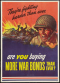 "Movie Posters:War, World War II Propaganda (U.S. Government Printing Office, 1943).Poster (20"" X 28""). ""They're Fighting Harder Than Ever"" War..."