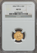 Gold Dollars: , 1854 G$1 Type Two AU53 NGC. NGC Census: (296/4637). PCGS Population(299/2232). Mintage: 783,943. Numismedia Wsl. Price for...