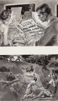 Pulp, Pulp-like, Digests, and Paperback Art, GLENN CRAVATH (American, 1897-1964). Two cartoonillustrations. Ink wash and pencil on board. 22 x 15 in.(overall). Not...