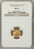 Commemorative Gold: , 1903 G$1 Louisiana Purchase/McKinley MS67 NGC. NGC Census: (108/4).PCGS Population (80/1). Mintage: 17,500. Numismedia Wsl...