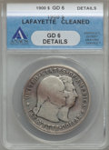1900 $1 Lafayette Dollar -- Cleaned -- ANACS. Good 6 Details. NGC Census: (1/2329). PCGS Population (5/3148). Mintage: 3...