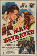 "Movie Posters:Mystery, A Man Betrayed (Republic, R-1953). One Sheet (27"" X 41""). Mystery.. ..."