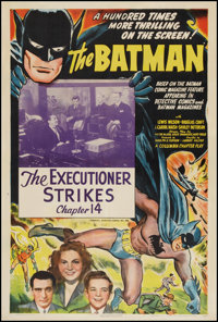 "The Batman (Columbia, 1943). One Sheet (27"" X 41"") Chapter 14 -- ""The Executioner Strikes."" Serial..."