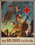 "Movie Posters:War, World War II Propaganda (U.S. Government Printing Office, 1943).Poster (20"" X 28""). ""Your Red Cross is at His Side"" War.. ..."