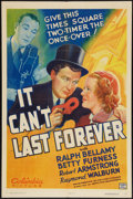 "Movie Posters:Crime, It Can't Last Forever (Columbia, 1937). One Sheet (27"" X 41"").Crime.. ..."