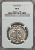 Walking Liberty Half Dollars: , 1920-D 50C XF45 NGC. NGC Census: (12/185). PCGS Population(10/287). Mintage: 1,551,000. Numismedia Wsl. Price for problem ...