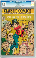 Golden Age (1938-1955):Classics Illustrated, Classic Comics #23 Oliver Twist - Original Edition (Gilberton,1945) CGC VF- 7.5 White pages....