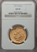 Indian Eagles, 1911-D $10 AU50 NGC....